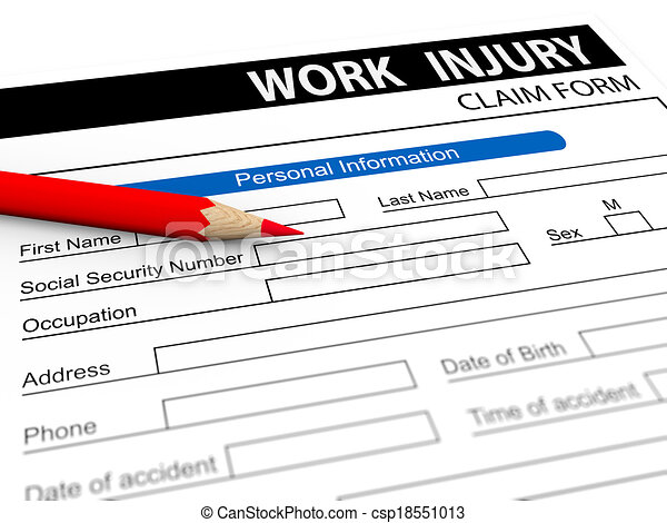 Clipart Of D Pencil And Work Injury Claim Form  D Illustration