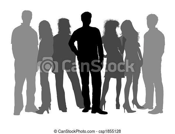 Stock illustration leute silhouetten schwarz weißes stock