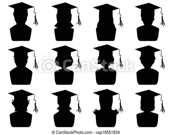 graduation head icons - csp18551834