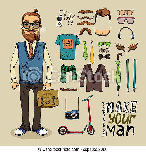 retro style man set - csp18552060