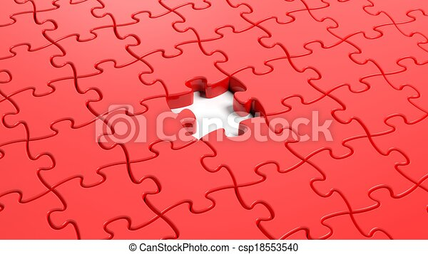 Drawing of Jigsaw puzzle red blank template with one piece ... - photo #25