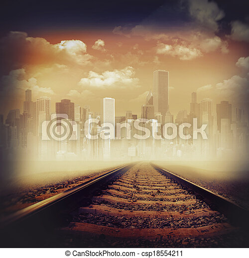 Road to the city. Abstract transportation backgrounds - csp18554211