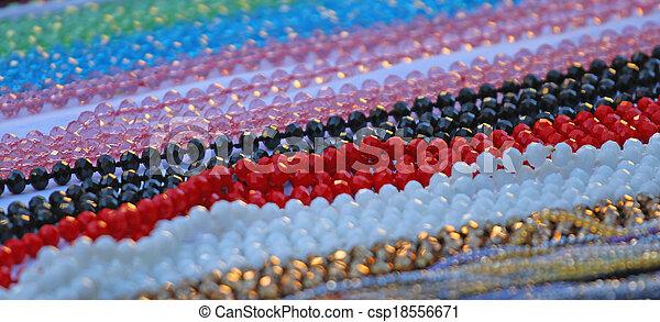 pedra, grupo, colares, venda, pérola, mercado pulga - csp18556671