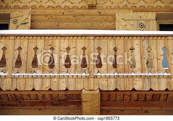 photos de chalet balcon d tail vue chalet balcon fait bois csp1855773 recherchez des. Black Bedroom Furniture Sets. Home Design Ideas