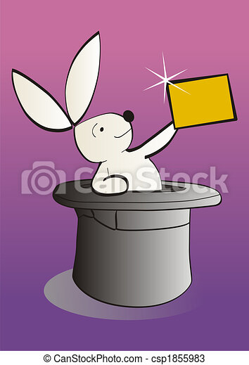 magical white rabbit showing an empty banner - csp1855983