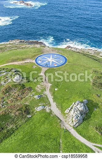 Compass rose in A Coruna, Galicia, Spain.