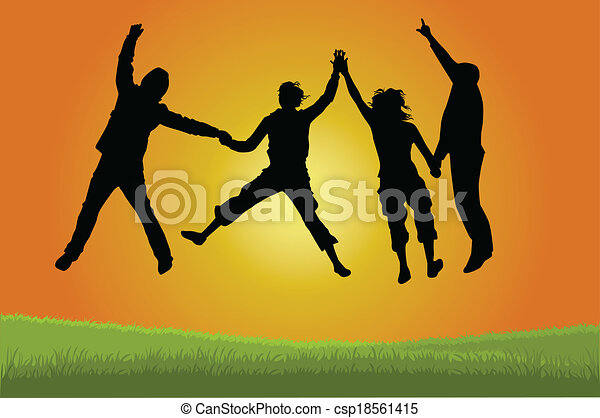 Group of people jumping - csp18561415