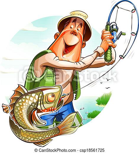 клипарт рыбак с удочкой