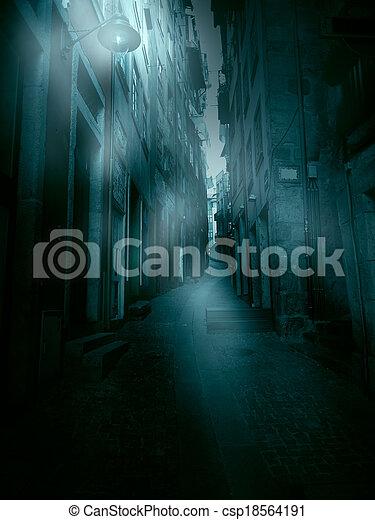 Foggy narrow street - csp18564191