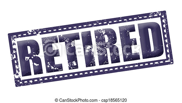 Vector Illustration of retired grunge stamp whit on vector ...