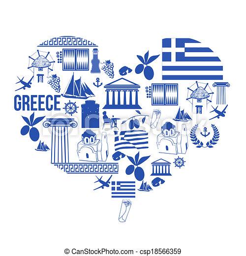 Heart shape with Greece symbols - csp18566359
