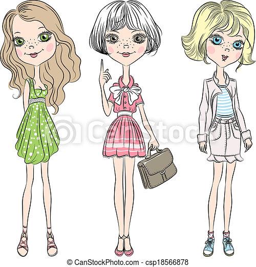 Vector set beautiful cute fashion girl  - csp18566878