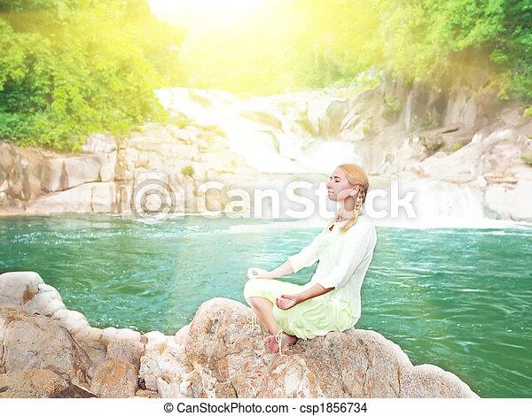 Meditation at sunrise time - csp1856734