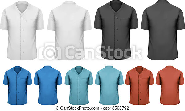 Set of white and black and colorful work clothes. Vector  - csp18568792