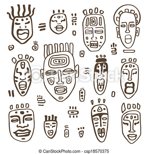 African Masks Drawings African Masks Set