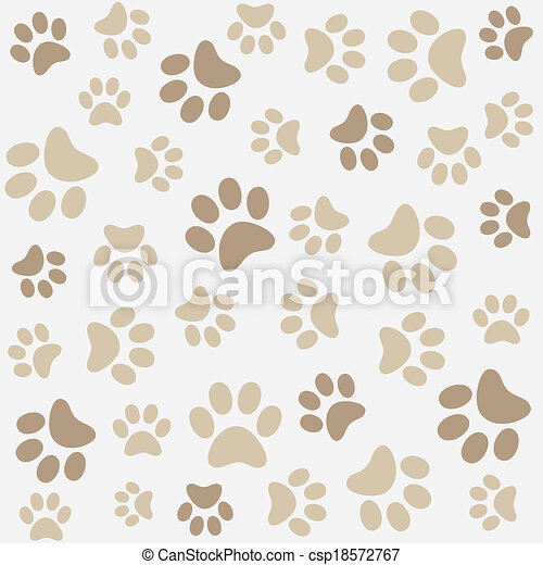 Animal pattern of paw footprint - csp18572767