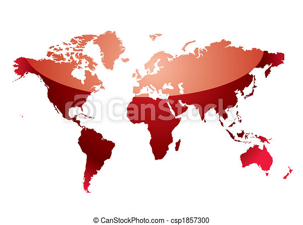 world map reflect red - csp1857300