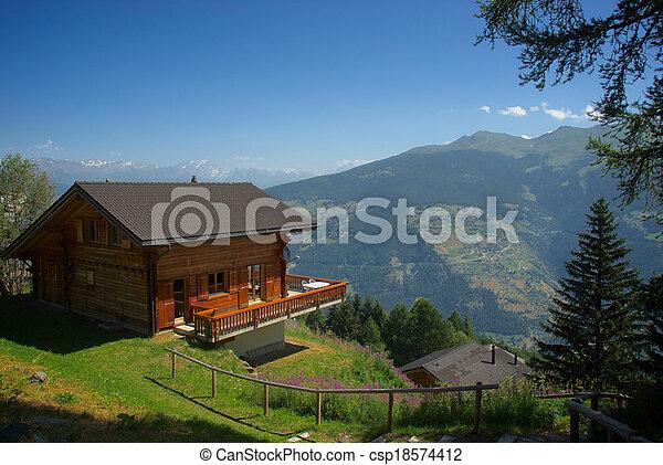 Stock fotografie van berg chalet les colons zwitserland aug 5 13 relaxen csp18574412 - Interieur chalet berg foto ...