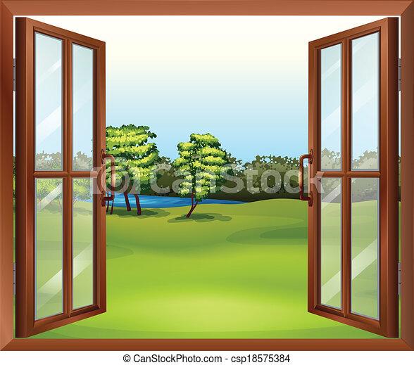 Vector Of An Open Wooden Window Illustration Of An Open