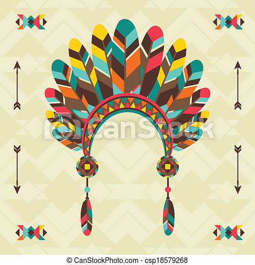Ethnic background with headband in navajo design. - csp18579268