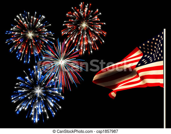 Independence day fireworks and the american flag. - csp1857987