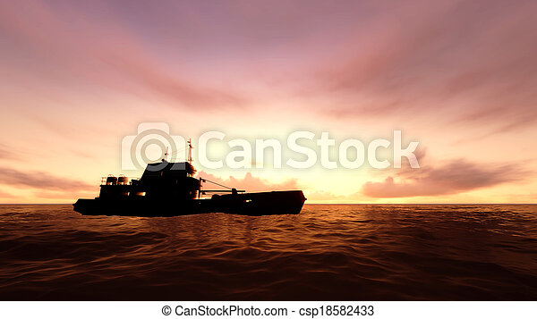 Ship in ocean with sunset - csp18582433