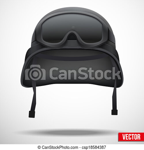 Military black helmet and goggles vector - csp18584387