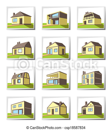 Vectors of various types of houses vector illustration for Tipi di case