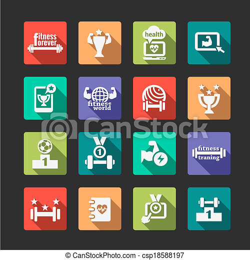 flat fitness and health icons set - csp18588197