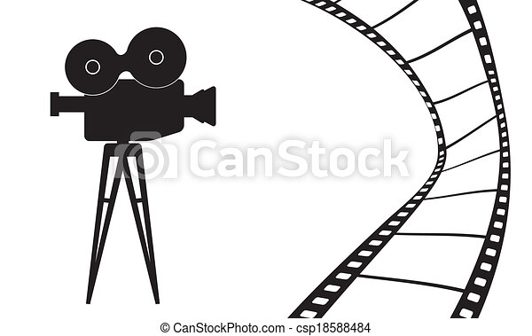 Cinema camera and movie vector illustration - csp18588484