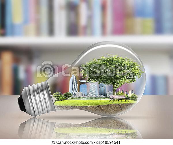 light bulb Alternative energy concept  - csp18591541