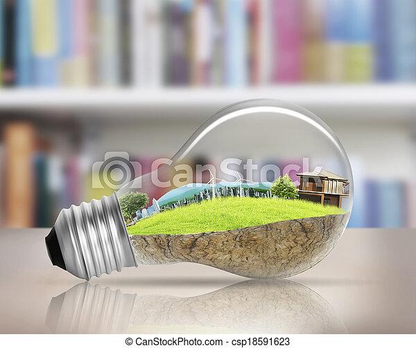 light bulb Alternative energy concept  - csp18591623