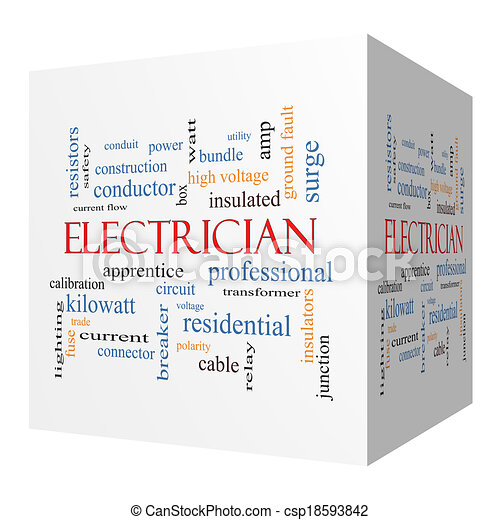 Electrician 3D cube Word Cloud Concept - csp18593842