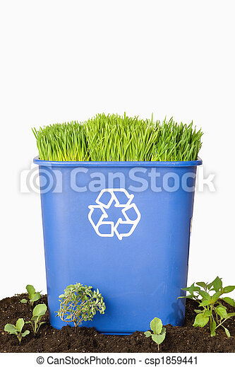 Blue Recycling Bin with Plants - csp1859441