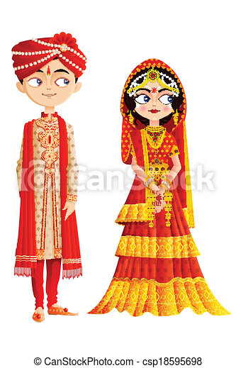 Indian Wedding Couple - csp18595698