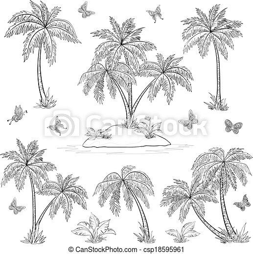 Island Flowers Drawings Tropical Island Palms And