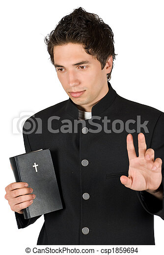 Young man thoughtful with bible and peace sign - csp1859694