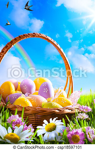 art Easter eggs on basket - csp18597101