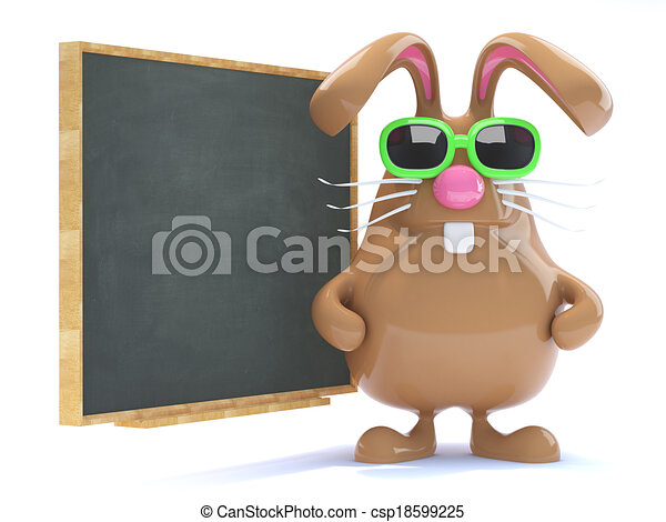 3d Easter bunny teaches the class - csp18599225