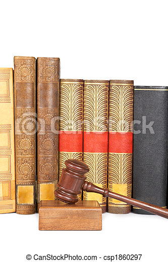 Wooden gavel and law books - csp1860297