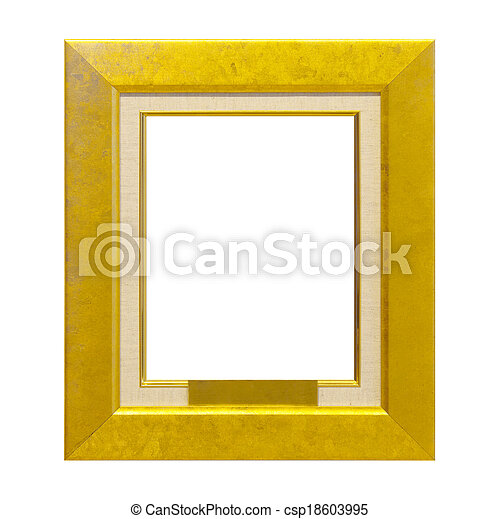 Antique gold frame isolated on the white background - csp18603995
