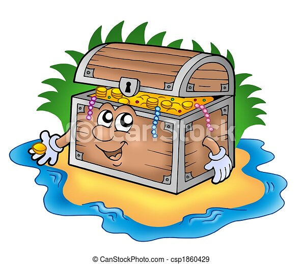 Cartoon treasure chest on island - csp1860429