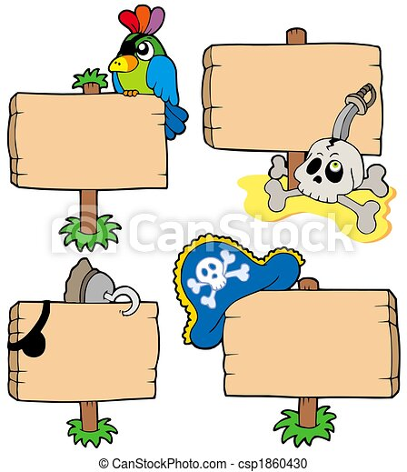 Pirate wooden signs collection - csp1860430