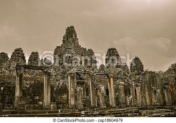 Bayon Temple and Angkor Wat Khmer Kingdom Religion complex in Siem Reap, Cambodia Asia - csp18604979