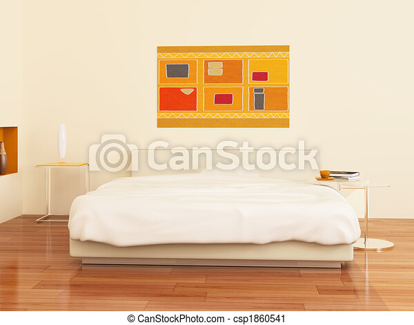 Bed in a bedroom - csp1860541