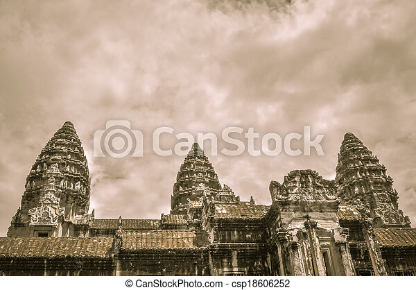 Bayon Temple and Angkor Wat Khmer Kingdom Religion complex in Siem Reap, Cambodia Asia - csp18606252