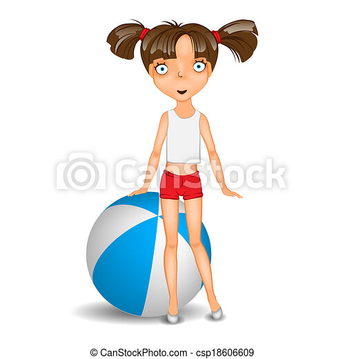Girl Shorts Drawing Little Girl With Ball Wearing