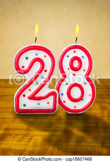 Stock Illustration of Burning birthday candles number 28 csp18607466 ...