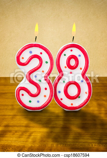 Stock Illustration of Burning birthday candles number 38 csp18607594 ...