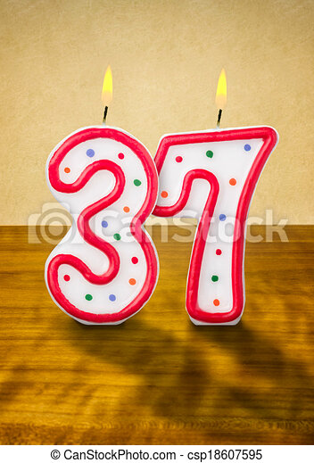 Stock Illustration of Burning birthday candles number 37 csp18607595 ...